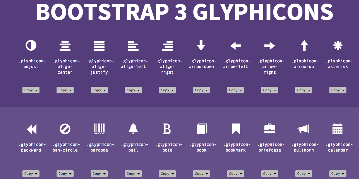 Bootstrap 3 Glyphicons Cheat Sheet