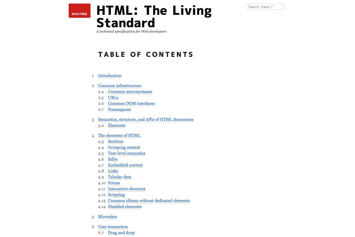 HTML the living standard