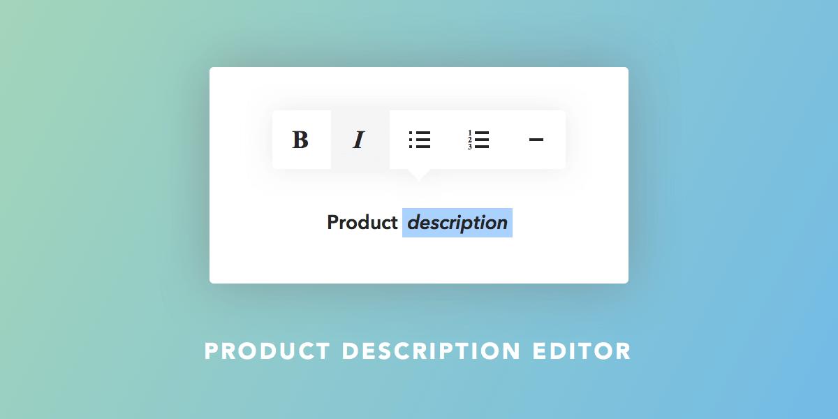 Product Description Editor